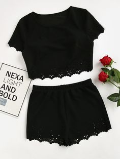 Shop Scallop Laser Cut Crop Top With Shorts online. SheIn offers Scallop Laser Cut Crop Top With Shorts & more to fit your fashionable needs. Outfits For Teens, Summer Outfits, Casual Outfits, Cute Outfits, Summer Dresses, Teen Fashion, Fashion Outfits, Womens Fashion, Style Fashion