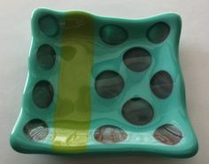 Handmade Turquoise Colored Fused Glass Dish  by goosecrossingfarm, $24.00