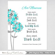 Girls Personalized PRINTABLE Wall Art - Graduation, Confirmation, Baptism Gift - Praise, Seek, Trust, Worship, Every moment Thank God on Etsy, $10.00