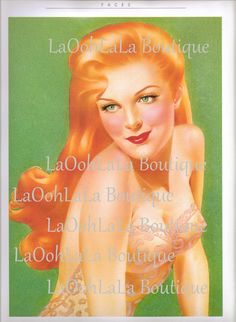 8463e324b 1940s Bashful Bather   Auburn Allure Vintage Redhead Pin Up Double Sided  Lithograph Art Print Poster