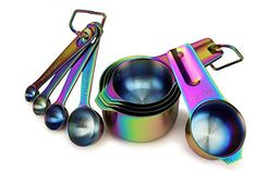 9 Piece Stainless Steel Rainbow/Iridescent/Oil Slick Measuring Cup and Spoon Set by ColorMeHome Kitchen Items, Kitchen Utensils, Kitchen Gadgets, Kitchen Dining, Kitchen Things, Kitchen Decor, Kitchen Supplies, Show Plates, Plates And Bowls