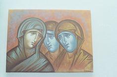 Three women, synthesis. Egg tempera on canvas. 2002. Artist Aggeliki Papadomanolaki. Agiografia.tumblr.com Tempera, I Icon, Egg, History, Portrait, Canvas, Artist, Women, Eggs