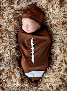 Football Bunting & Cap-cozy cocoon, swaddle, swaddling, baby, infant, boy, newborn, photo shoots, football, sports, trendy, baby boutique, designer