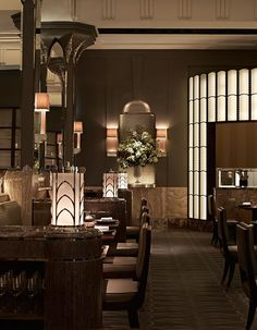 Guy Oliver Tells AD About His Design for Claridge's Restaurant - The walls and columns feature onyx detailing.
