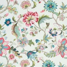 Items similar to Wide Spanish Made Cotton Blend Parizenne Fabric Floral Jacobean Pattern Blue Teal Green Pink Red Burnt Orange Navy Off White Drapery on Etsy Plaid Fabric, Floral Fabric, Retro Fabric, Linen Fabric, Fabric Flowers, Cotton Fabric, Coral Blue, Teal Green, Fabric Decor