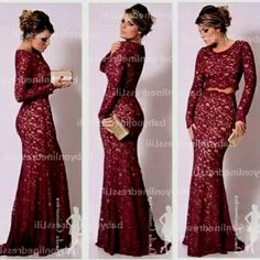 Maroon lace prom dress