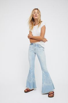You're a star Denim Super Flare at Free People Clothing Boutique