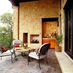 Recessed stone fireplace Stonewall Design Ideas, Pictures, Remodel, and Decor - page 7