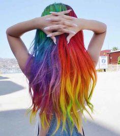 Hair Chalk - Can't get enough of rainbow hair! Hair Color 2016, Bold Hair Color, Pretty Hair Color, Bright Hair Colors, Hair Dye Colors, Colorful Hair, Bold Colors, Pretty Hairstyles, Straight Hairstyles