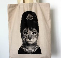 Queen Cat  Big size  Canvas tote bag/Diaper by Tshirt99 on Etsy