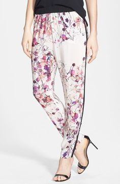 Chelsea28 Print Woven Track Pants available at #Nordstrom @Victoria similar to Khloe Kardashian's floral pants.