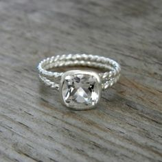 rope wedding ring with white topaz. swoon