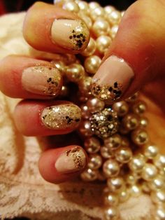sparkly nude and gold