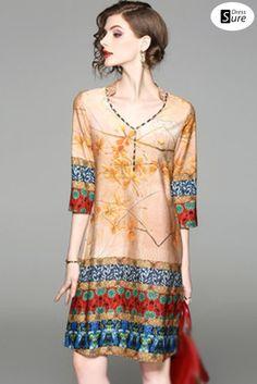 aa54743615a Folk V-Neck 3 4 Sleeve Print Shift Dress White Shift Dresses