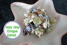 Take-out Tuesday, Lazy Day Grape Salad Recipe Salads with grapes, seedless red grapes, cream cheese, low-fat sour cream, brown sugar, chopped pecans, blueberries