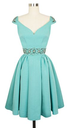 Gorgeous '50s inspired pastel dress with a beaded belt---- beautiful for a cocktail party or as a bridesmaids dress for a retro or rockabilly themed wedding:: 50s fashion:: Rockabilly Bridesmaids:: Retro Bridesmaids Dresses
