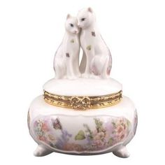 Limoges Cat trinket box