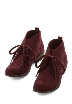 Tour Date Bootie in Plum. Though you travel the world primarily to spread your music, not every evening is spent on stage. #red #modcloth