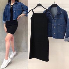 Kitz Collection Combo Jacket + dress Fabric knitted Dress Denim JYou can find Heels and more on our website. Girls Fashion Clothes, Indian Fashion Dresses, Teen Fashion Outfits, Girl Fashion, Style Fashion, Cute Casual Outfits, Simple Outfits, Stylish Outfits, Vetement Fashion
