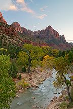 Virgin River and the Watchman, Zion National Park Pictures