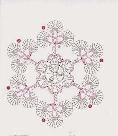 Esquema ganchillo Crochet Snowflake Pattern, Crotchet Patterns, Crochet Stars, Crochet Snowflakes, Thread Crochet, Crochet Patterns Amigurumi, Crochet Stitches, Crochet Instructions, Crochet Diagram