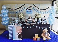 Thematic children's party of boss in diapers - Celebrat : Home of Celebration, Events to Celebrate, Wishes, Gifts ideas and more ! Baby Boy 1st Birthday Party, Baby Party, Birthday Party Themes, Cake Birthday, Happy Birthday Boss, Boss Baby, Childrens Party, Birthday Balloons, First Birthdays