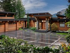 A contemporary Vancouver Island waterfront property with a West Coast feel. A contemporary Vancouver Island waterfront property with a West Coast feel. Mountain Home Exterior, Modern Mountain Home, Dream House Exterior, Contemporary House Plans, Modern House Plans, Modern House Design, Contemporary Home Design, Modern Houses, Style At Home