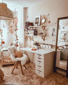 Study your space to find the perfect furnishing solutions. 🔎 LINDMON/ALEX desk 49047119 Thanks to for sharing your beautiful… Study Room Decor, Cute Room Decor, Room Ideas Bedroom, Bedroom Decor, White Desk Bedroom, Home Office Design, Home Office Decor, Ikea Office, Aesthetic Room Decor