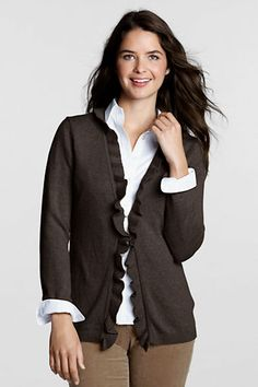 Women's FeelGood Ribbed Ruffle Cardigan Sweater from Lands' End (dark mahogany heather) @S.J. Smith