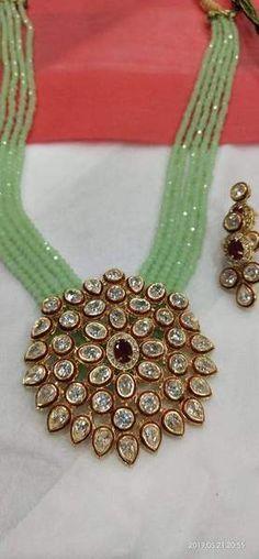 Royal Kundan Necklace with Moti Strands – FashionVibes Fancy Jewellery, Gold Jewellery Design, Bead Jewellery, Gold Jewelry, Gold Bangles, India Jewelry, Luxury Jewelry, Pearl Jewelry, Jewelry Sets