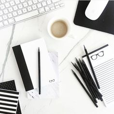 Desktop Styling. Black and Marble accessories. Work Chic. SS Printshop. Styling and Photography by Shay Cochrane. www.shaycochrane.com