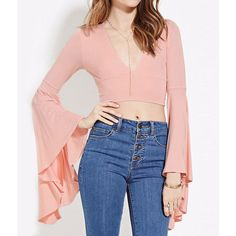 015b0ae491604b Fashion Blouse Women Casual Flare Sleeve Deep V-neck Crop Tops Sexy Slim  Solid 2 Colors Female Summer Shirts