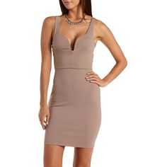 Charlotte Russe Coffee Brown Plunging Open Back Bodycon Dress by... ($30) ❤ liked on Polyvore