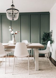 dining table decor and dining tableSearching for the Perfect Dining Table - Article Tavola Table Rev Green Dining Room, Dining Room Walls, Dining Room Design, Dining Room Furniture, Dining Room Feature Wall, White Dining Chairs, Dining Tables, Dining Area, Room Interior
