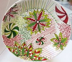 Christmas Cookie Plate (Serving dish/plate/bowl)  Red and Greens, whimsical Christmas Dish