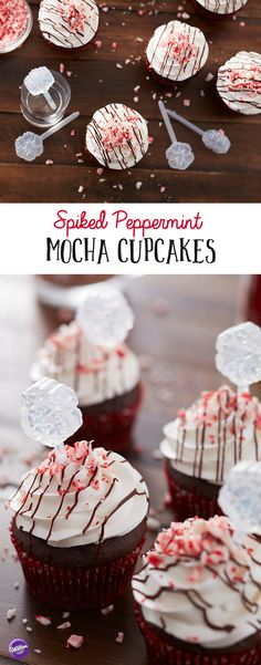 Spiked Peppermint Mocha Cupcakes Recipe - A moist chocolate cake is topped with sweet peppermint schnapps filling for a tasty treat that adults will love. Serve this tasty cupcake for a winter dinner party or a snack for after the kids have gone to bed. With the smooth and decadent flavors of winter, this is one Christmas cupcake you're going to love!