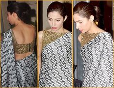 Mahira Khan was looking stunning and glamorous while wearing a Feeha Jamshed's silk black and white printed saree with gold blouse.