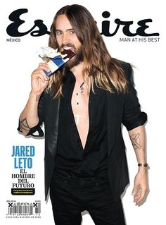 Jared Leto Eats Candy Bar for Esquire Mexico September 2014 Cover image Jared Leto Esquire Mexico Cover
