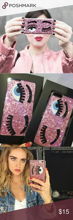 "iPhone case glitter flirty eye lash PINK NEW Chiara Ferragni inspired flirty eye case   GLITTER IPHONE COVER WITH ""FLIRTING"" PATENT EYELASH WITH GLITTER DECORATION  3D fashion case phone in trend.  iPhone 6/6s & 6 PLUS Accessories Phone Cases"