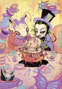 Camille Rose Garcia's Alice in Wonderland illustration Lewis Carroll, Camilla Rose, Camille Rose Garcia, Surreal Artwork, Lowbrow Art, Adventures In Wonderland, Pop Surrealism, Contemporary Artists, Pop Art