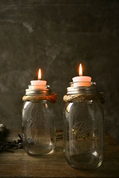 Mason Jar Candle Holders Rustic Wedding Decor ~ these are from Etsy, but so easy to DIY--would be real cute with flowers inside the jar......We could decorate them any way we want to add your colors to them sister