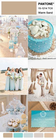 Light Blue and Warm Sand Brown Rustic Beach Wedding Ideas #weddingcolors#weddingtrends2018