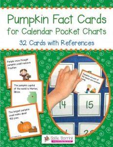 Pumpkin Fact Cards for Calendar Pocket Charts - Pumpkin Unit Extension Activity  - A fun, colorful and easy way to extend your study of pumpkins. You will receive 32 cards, each with an interesting fact about pumpkins. The 3×3 cards easily slide behind your date cards on the calendar pocket chart. The cards are unnumbered so they can be used in any month and in any sequence.
