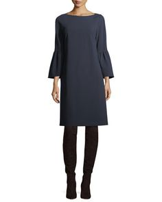 Lafayette 148 New York Plus Size Paloma Punto Milano Dress w/ Trumpet Sleeves Bergdorf Goodman, Bell Sleeve Dress, Bell Sleeves, Clothes For Sale, Clothes For Women, Dress The Population, Daytime Dresses, Lafayette 148, Yorkie