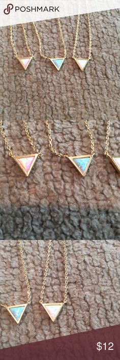 "Iridescent Stone Triangle Necklaces I can not capture how pretty these are with my camera    16"" brand new.   Great for layering or alone.   Great quality  so so pretty Must Have Jewelry Necklaces"