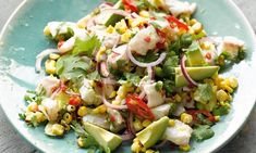 Yotam Ottolenghi's recipes for smoky corn and avocado ceviche, and corn and spring onion pancakes. A refreshing Peruvian-style fish main course to add a touch of summer to dark, autumnal days, plus the best corn pancake recipe I know Yummy Vegetable Recipes, Corn Recipes, Seafood Recipes, Cooking Recipes, Healthy Recipes, Recipies, Ottolenghi Recipes, Yotam Ottolenghi, Salads