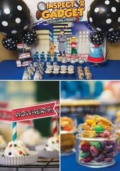 An Inspector Gadget Birthday Party with spy outfits, a gadget arm cake, 'bits + gadgets' chex mix, Gadget Mobile party favors, veggie bar + Inspector decal Spy Birthday Parties, Birthday Party Desserts, Spy Party, Party Time, Birthday Ideas, Kid Parties, Themed Parties, 5th Birthday, Veggie Bars