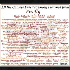 See, thats not gibberish I sputter, its Chinese swear words gorramit! I want to learn Chinese because of this show. Check out the website to see Nerd Love, My Love, Firefly Serenity, Serenity Quotes, Star Wars, What Do You Mean, Learn Chinese, Joss Whedon, I Need To Know
