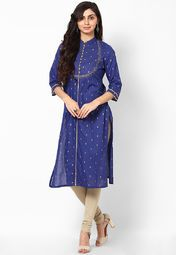 Cotton Blue Printed Kurta