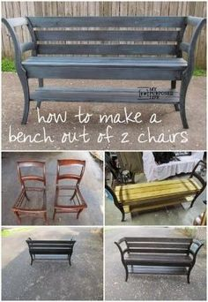 Best DIY Projects: My Repurposed Life How to make a Chair Bench by benita.williams.98